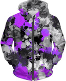 Purple and Grey Paint Splatter Hoodie | BigTexFunkadelic