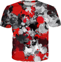 Red and Grey Paint Splatter T-Shirt | BigTexFunkadelic
