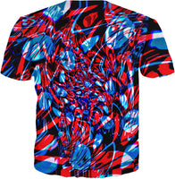 Psychedelic Streetart Chaos T-Shirt (Red & Blue Abstract) | BigTexFunkadelic