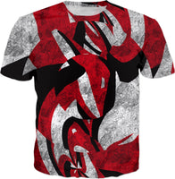 Abstract Red Acid Grunge T-Shirt | BigTexFunkadelic