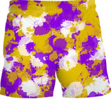 Purple Gold and White Paint Splatter Swim Shorts | BigTexFunkadelic
