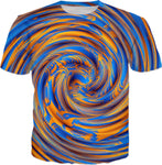 Blue and Orange Hypnotic Swirl T-Shirt | BigTexFunkadelic