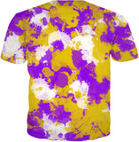 Purple Gold and White Paint Splatter T-Shirt | BigTexFunkadelic