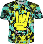 Rock On Hand Pop Art T-Shirt | BigTexFunkadelic