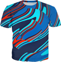 Blue Centripetal Rave Abstract T-Shirt | BigTexFunkadelic