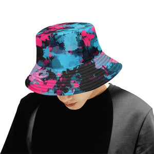 Pink and Blue Paint Splatter Bucket Hat | BigTexFunkadelic