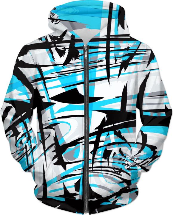 Blue Graffiti Mix Zip-Up Hoodie | BigTexFunkadelic