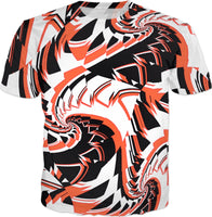 Orange Black and White Racing Fractal T-Shirt | BigTexFunkadelic