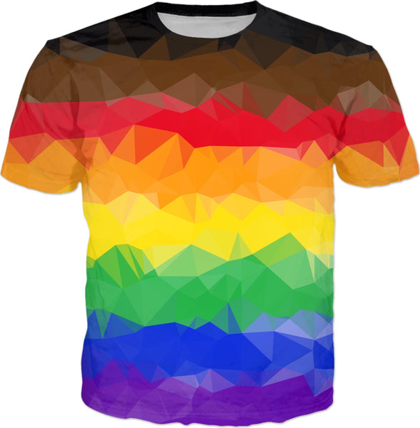 Geo Pride Flag T-Shirt (Standard Rainbow + Black/Brown Stripes) | BigTexFunkadelic