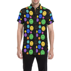 Smiley Face Short Sleeve Button Up Shirt | BigTexFunkadelic