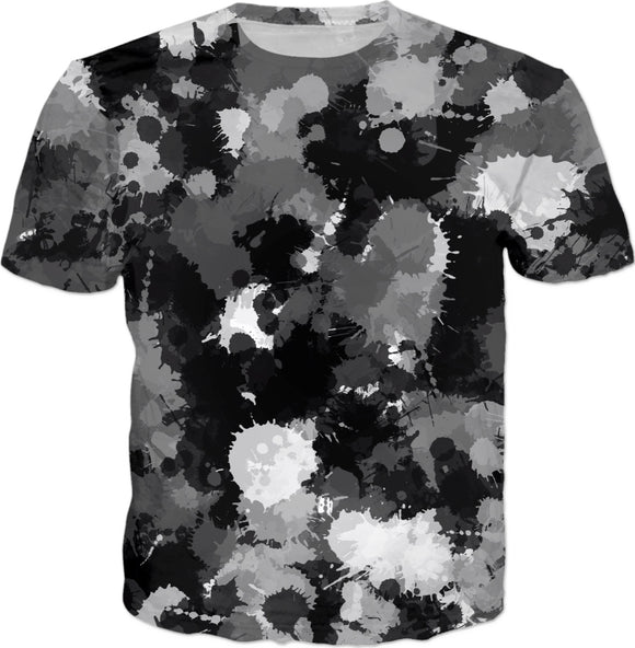 Black White and Grey Paint Splatter T-Shirt | BigTexFunkadelic