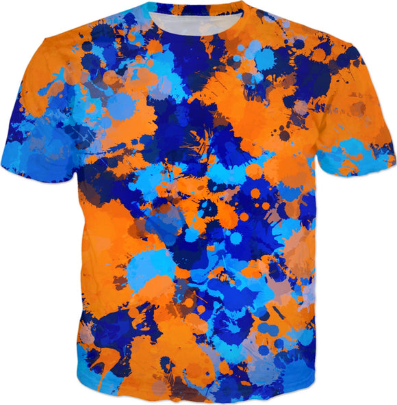 Blue and Orange Paint Splatter T-Shirt | BigTexFunkadelic