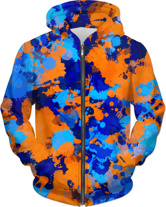 Blue and Orange Paint Splatter Zip-Up Hoodie | BigTexFunkadelic