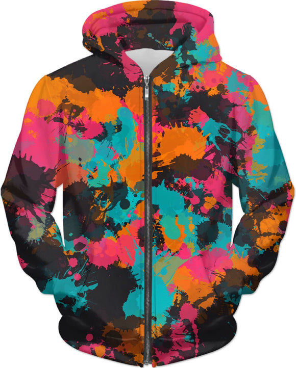 Fiesta Colors Paint Splatter Zip-Up Hoodie | BigTexFunkadelic