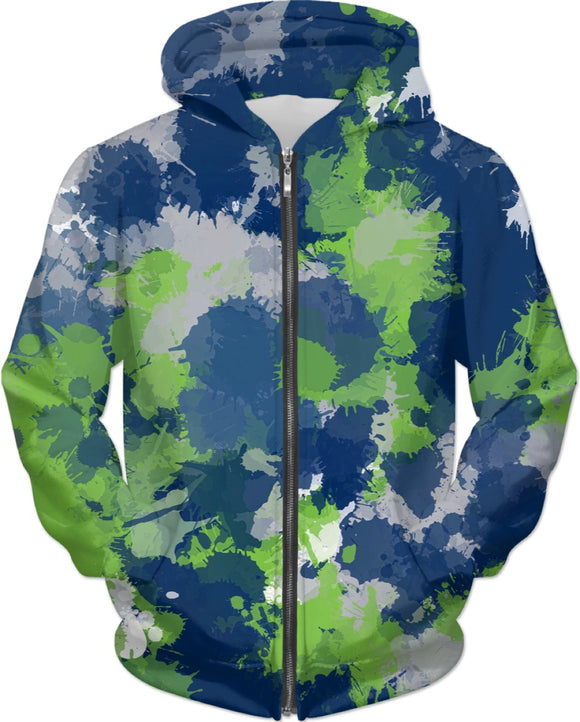 Green Blue and Grey Paint Splatter Zip-Up Hoodie | BigTexFunkadelic