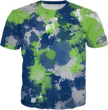 Blue Green and Grey Paint Splatter T-Shirt | BigTexFunkadelic