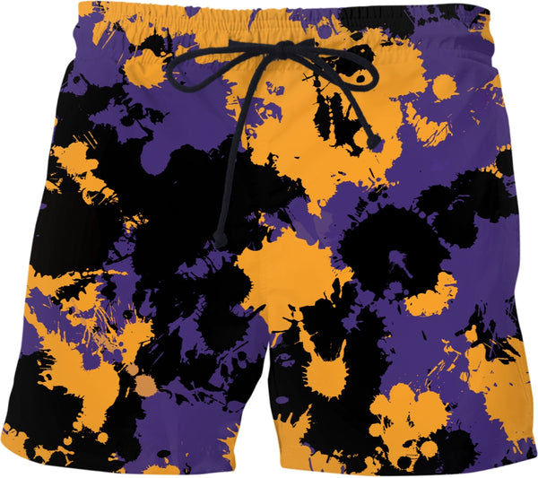 Purple Gold and Black Legends Paint Splatter Swim Shorts | BigTexFunkadelic