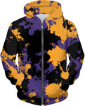 Purple Gold and Black Legends Paint Splatter Zip-Up Hoodie | BigTexFunkadelic