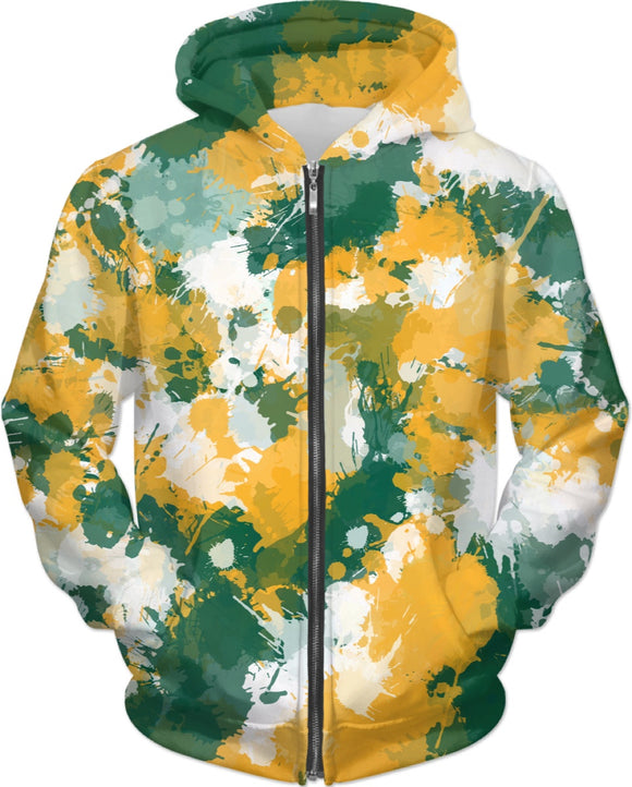 Green Yellow and White Paint Splatter Zip-Up Hoodie | BigTexFunkadelic