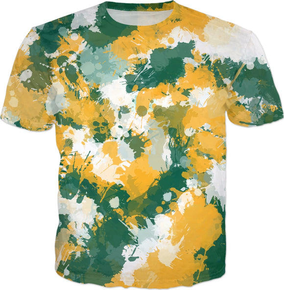 Green Yellow and White Paint Splatter T-Shirt | BigTexFunkadelic