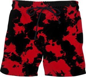 Red and Black Paint Splatter Swim Shorts | BigTexFunkadelic