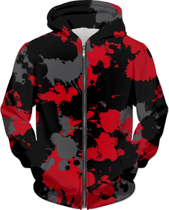 Red Grey and Black Paint Splatter Zip-Up Hoodie | BigTexFunkadelic