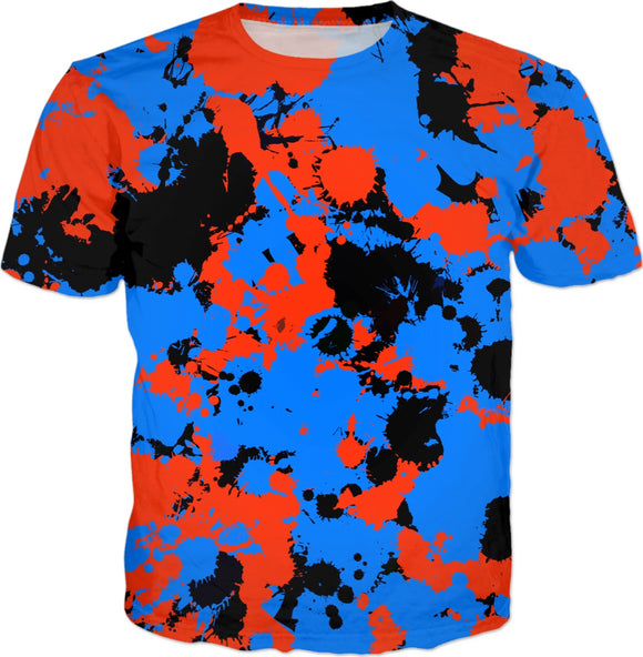 Red and Blue Blackout Paint Splatter T-Shirt | BigTexFunkadelic