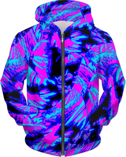 Fluorescent 80s Blacklight Pattern Hoodie