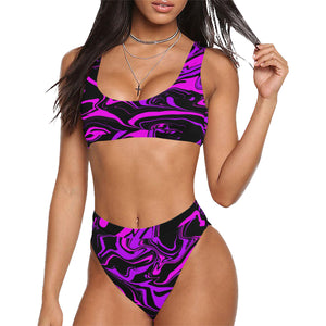 Pink Purple and Black Oil Slick Sport Top & High-Waisted Bikini Swimsuit | BigTexFunkadelic