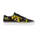 Black and Yellow Paint Splatter Graffiti Men's Low Top Skateboarding Shoes | BigTexFunkadelic