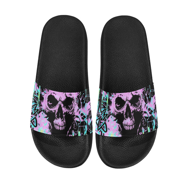 Alternative Skull Graffiti Men's Slide Sandals | BigTexFunkadelic