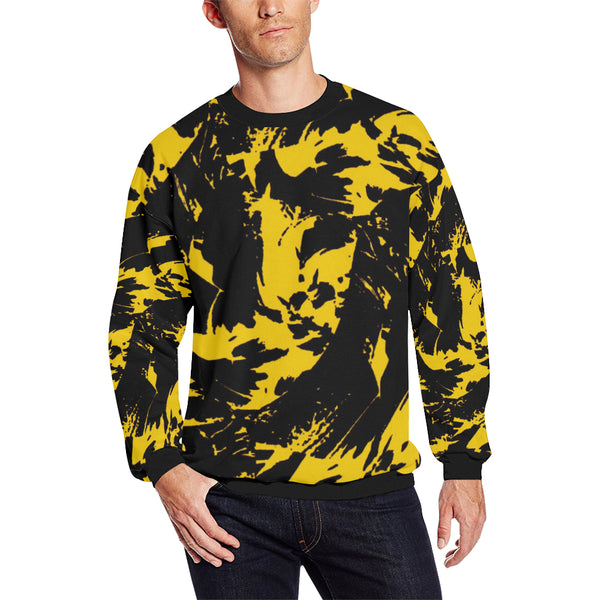 Black and Yellow Graffiti Splatter Men's Big & Tall Oversized Fleece Crewneck Sweatshirt | BigTexFunkadelic