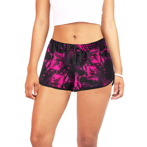 Pink and Black Abstract Women's Shorts | BigTexFunkadelic