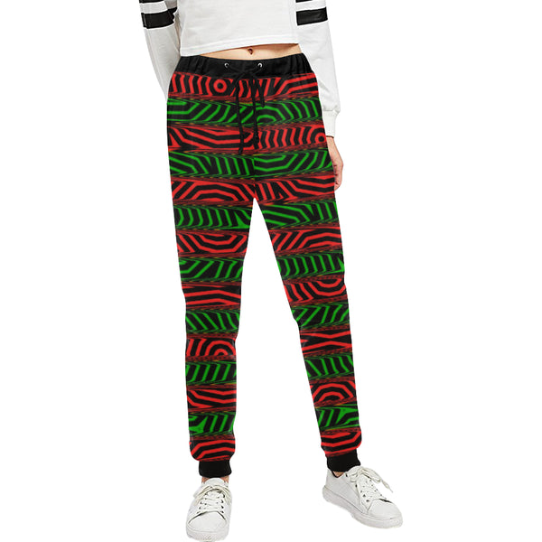 Christmas Conspiracy Stripe Women's All Over Print Jogger Sweatpants | BigTexFunkadelic