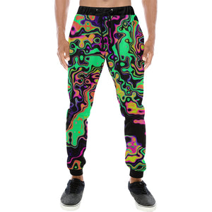 Radioactive Spill Men's Big & Tall All Over Print Jogger Sweatpants | BigTexFunkadelic