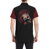 Stay Wild Punk Skull Button Down Short Sleeve Shirt | BigTexFunkadelic