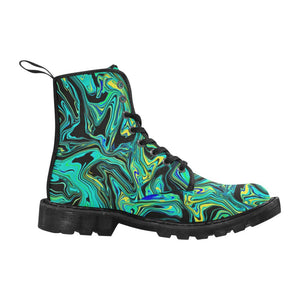 Teal Oil Spill Women's Black Boots | BigTexFunkadelic