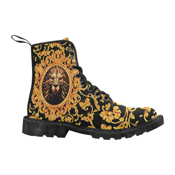 Lion Royalty Women's Black Martin Boots | BigTexFunkadelic