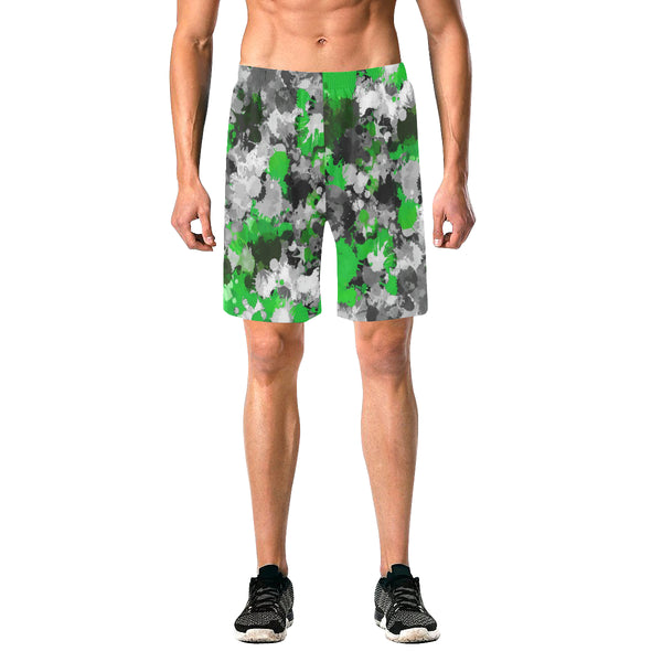 Green and Grey Paint Splatter Casual Shorts | BigTexFunkadelic