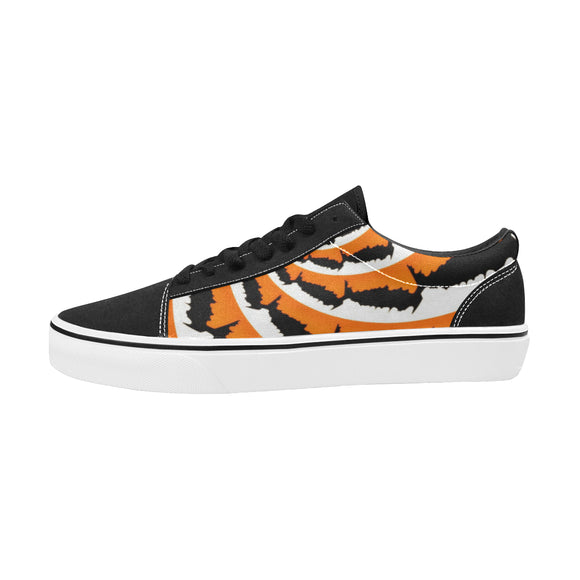 Tiger Stripe Fractal Men's Low Top Skateboarding Shoes | BigTexFunkadelic