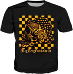 Black And Gold Trippy Skull Graphic Tee
