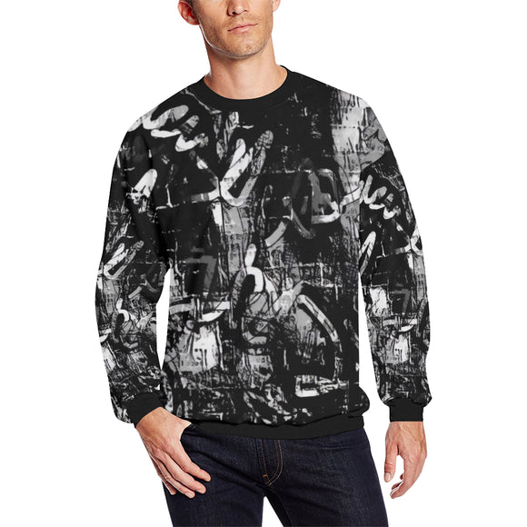 Black and White Graffiti Men's Big & Tall Oversized Fleece Crewneck Sweatshirt | BigTexFunkadelic