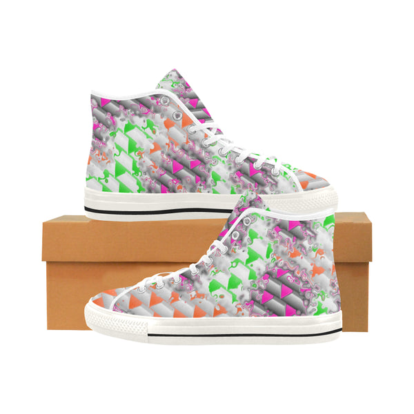 90s Confetti Whiteout Hi-Top Men's Sneakers | BigTexFunkadelic