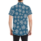 Blue and Grey Weed Pattern Short Sleeve Button Up Shirt