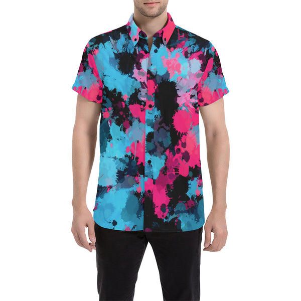 Pink and Blue Paint Splatter Short Sleeve Button Up Shirt | BigTexFunkadelic