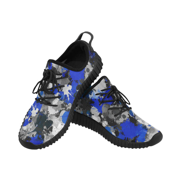 Blue and Grey Paint Splatter Graffiti Men's Breathable Woven Running Shoes | BigTexFunkadelic