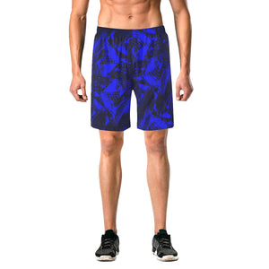 Blue and Black Abstract Casual Shorts | BigTexFunkadelic