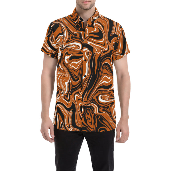 Burnt Orange, Black and White Abstract Melt Men's Big & Tall Short Sleeve Button Up Shirt | BigTexFunkadelic