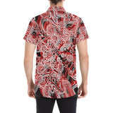 Red Psychedelic Short Sleeve Button Up