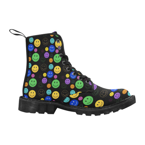 Smiley Face Women's Black Martin Boots | BigTexFunkadelic